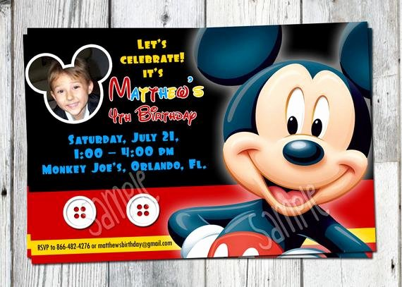 Mickey Mouse Birthday Invitations Wording Best Of Mickey Mouse Birthday Invitation Printable Boys Personalized