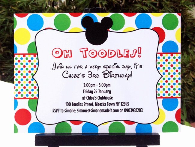 Mickey Mouse Birthday Invitations Wording Fresh Mickey Mouse Clubhouse Printable Invitation & Party