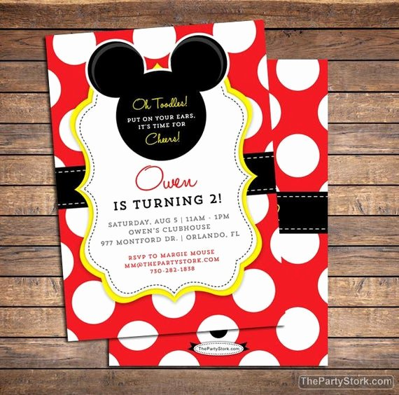 Mickey Mouse Birthday Invitations Wording Fresh Mickey Mouse Invitation Mickey Mouse Birthday Invitations