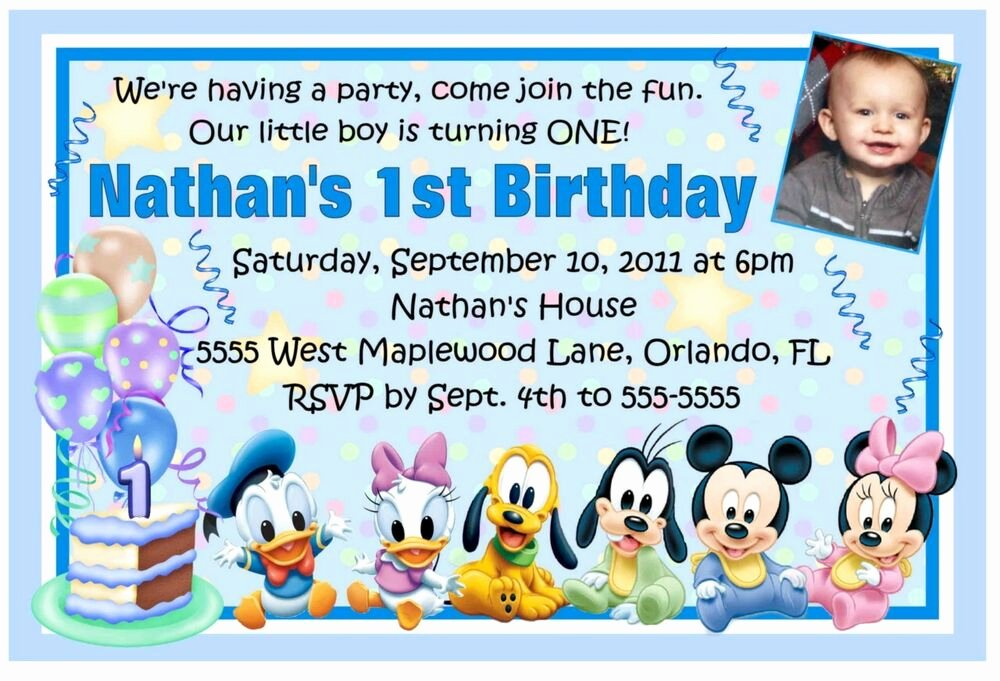 Mickey Mouse Birthday Invitations Wording Inspirational Mickey Mouse Disney Babies 1st Birthday Invitations