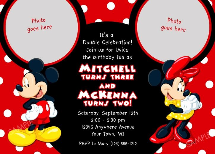 Mickey Mouse Birthday Invitations Wording Luxury Details About Mickey Mouse Birthday Invitation Party Card
