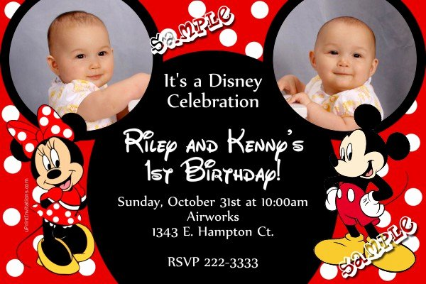 Mickey Mouse Birthday Invitations Wording Luxury Mickey Mouse and Minnie Mouse Ears Birthday Invitation