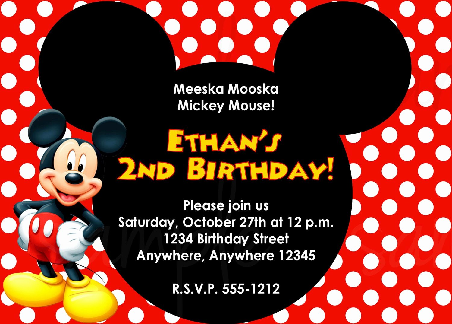 Mickey Mouse Birthday Invitations Wording New Mickey Mouse Birthday Invitation