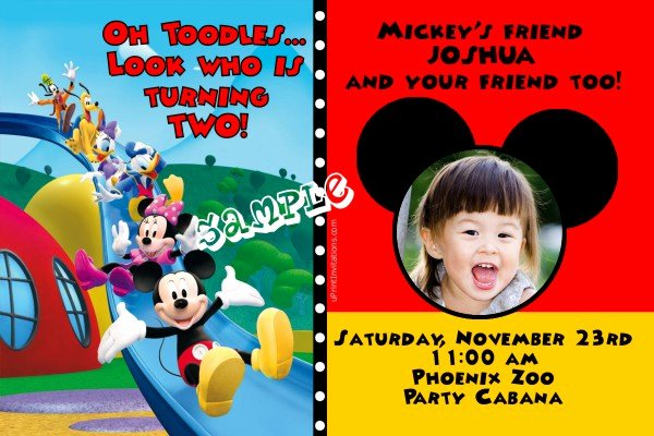 Mickey Mouse Birthday Invitations Wording New Mickey Mouse Clubhouse Slide Birthday Invitation