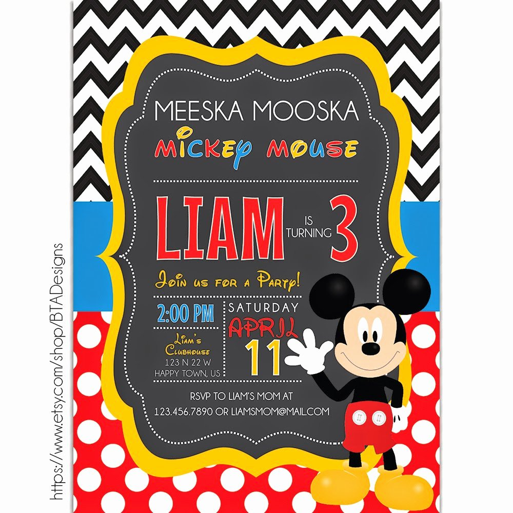 Mickey Mouse Blank Invitations Beautiful Mickey Mouse Printable Birthday Invitations