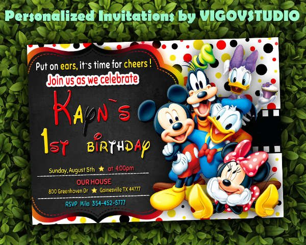 Mickey Mouse Blank Invitations Inspirational 7 Mickey Mouse Invitation Designs & Templates Psd Ai