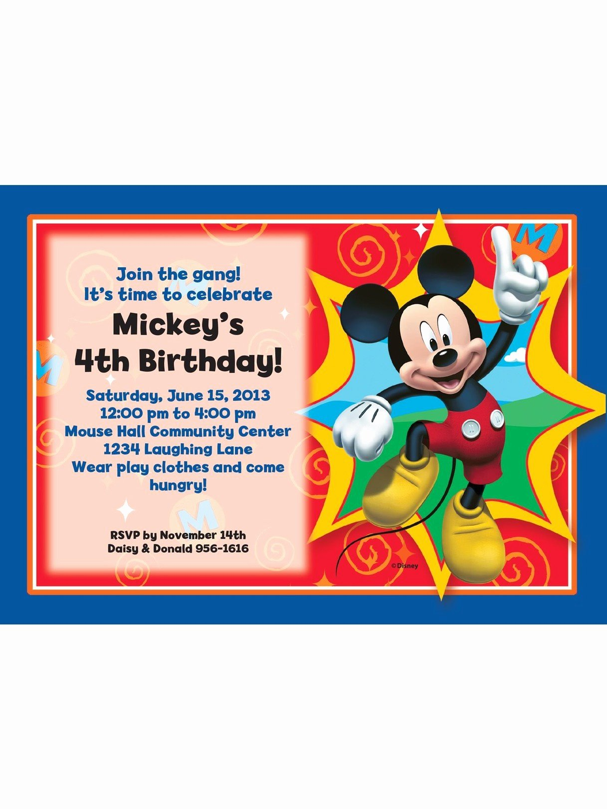 Mickey Mouse Blank Invitations Inspirational Mickey Mouse Personalized Invitation Each Discount