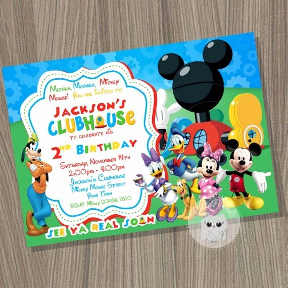Mickey Mouse Blank Invitations Lovely Mickey Mouse Clubhouse Thank You Card Blank Mickey Mouse