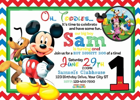 Mickey Mouse Blank Invitations New Mickey Mouse 1st Birthday Invitations Free Invitation