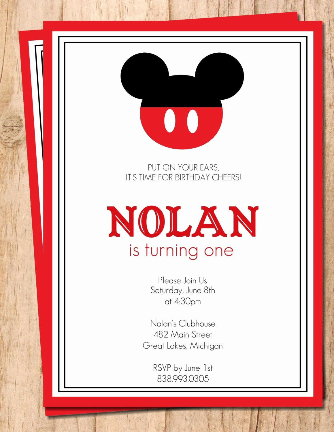Mickey Mouse Blank Invitations Unique Mickey Mouse Red and Black Printable Birthday Invitation