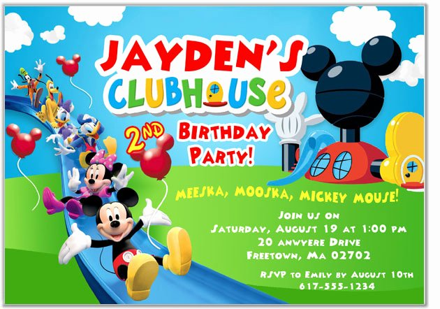 Mickey Mouse Clubhouse Birthday Invitation Beautiful Mickey Mouse Clubhouse Birthday Party Invitations