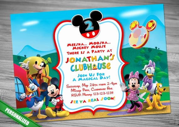 Mickey Mouse Clubhouse Birthday Invitation Elegant Mickey Mouse Clubhouse Invitation Mickey Invitation Mickey