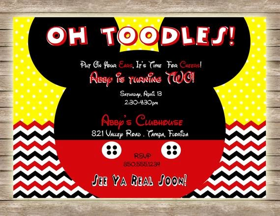 Mickey Mouse Clubhouse Birthday Invitation Fresh Items Similar to Mickey Mouse Oh toodles Chevron and Polka
