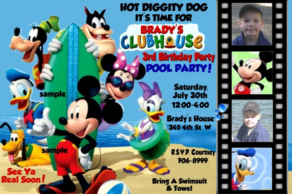 Mickey Mouse Clubhouse Birthday Invitation New Pool Party Mickey Mouse Clubhouse Invitations by Montanalisa