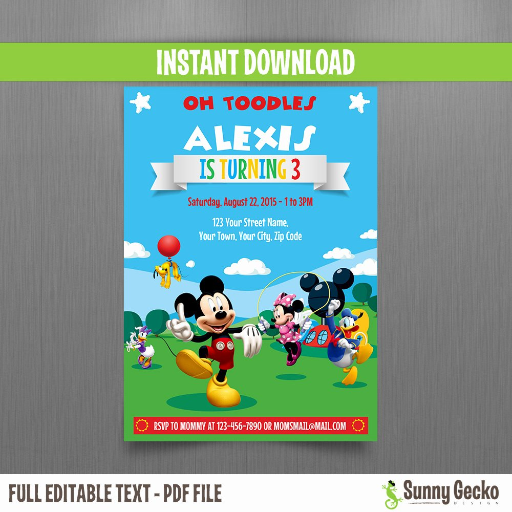 Mickey Mouse Clubhouse Birthday Invitations Awesome Mickey Mouse Clubhouse Party 5x7 In Birthday Invitation