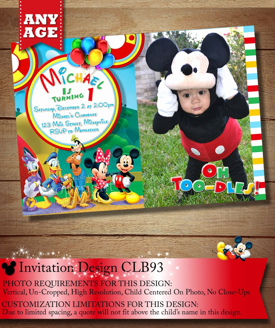 Mickey Mouse Clubhouse Birthday Invitations Best Of You Choose Mickey Mouse Birthday Invitation Clubhouse Mickey