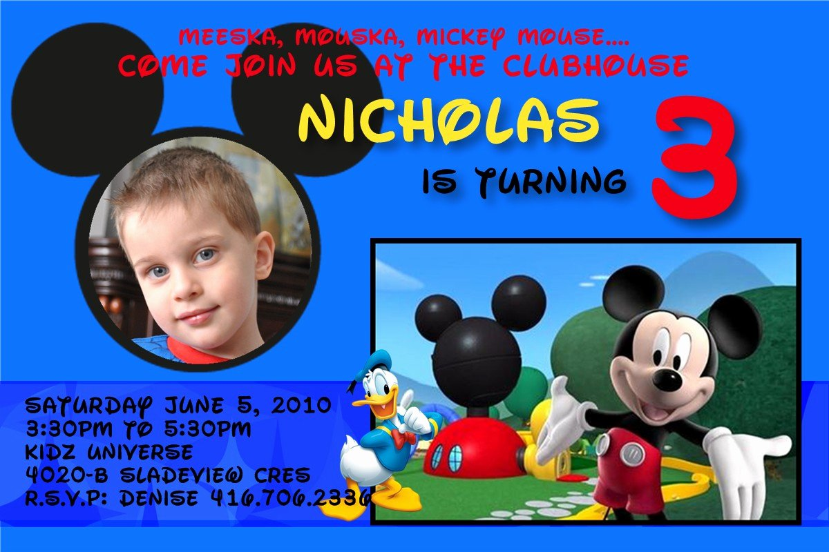 Mickey Mouse Clubhouse Birthday Invitations New 3 Year Old Birthday Party Invitation Wording
