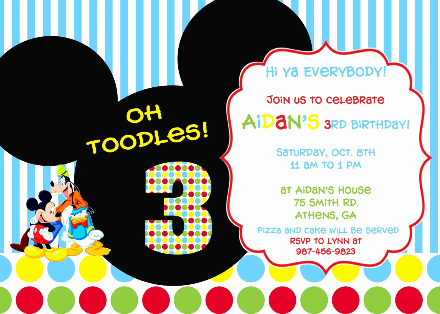 Mickey Mouse Clubhouse Birthday Invitations Unique Colorful Mickey Mouse Clubhouse Party Invitation