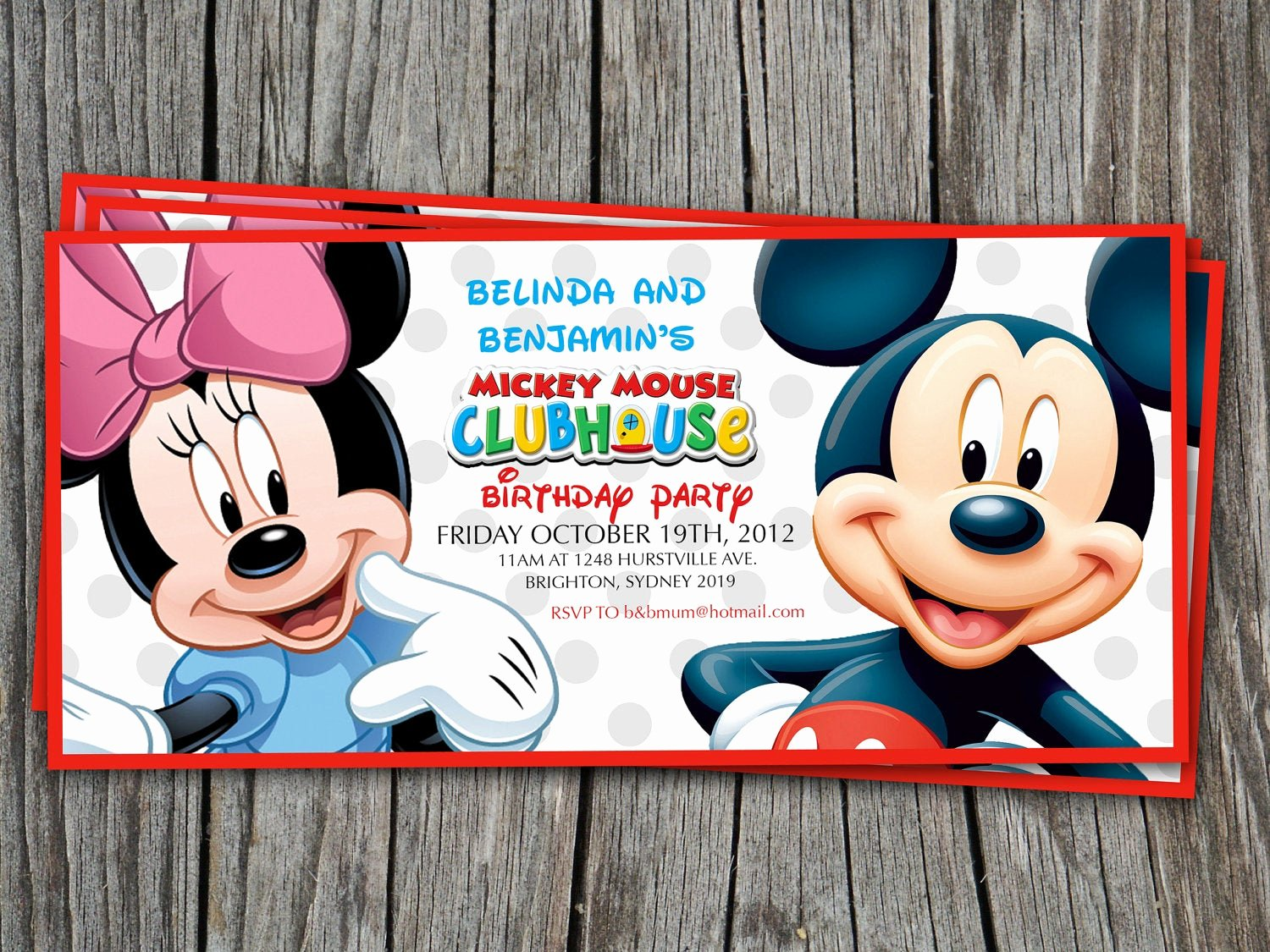 Mickey Mouse Clubhouse Invitation Awesome Twins Birthday Invitation Mickey Mouse Clubhouse Modern