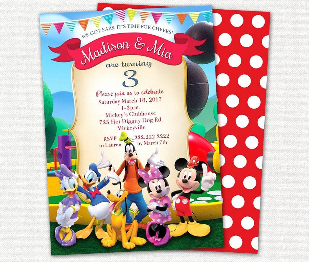 Mickey Mouse Clubhouse Invitation Elegant Mickey Mouse Clubhouse Twin Birthday Invitation Mickey Mouse