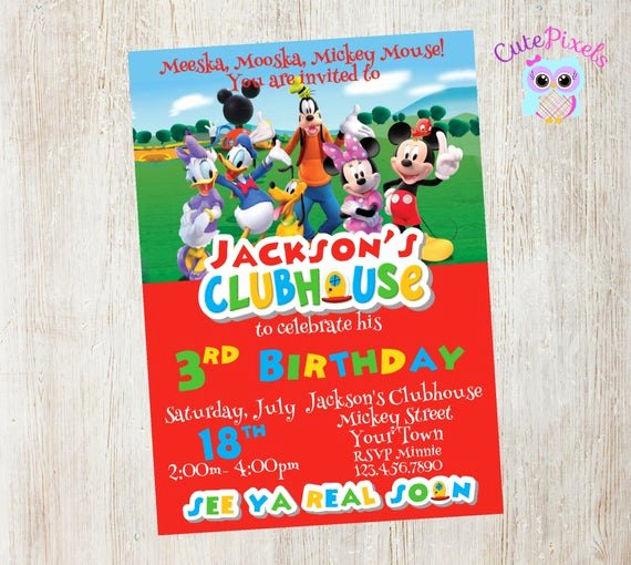 Mickey Mouse Clubhouse Invitation New Mickey Mouse Clubhouse Invitation Mickey Mouse Birthday