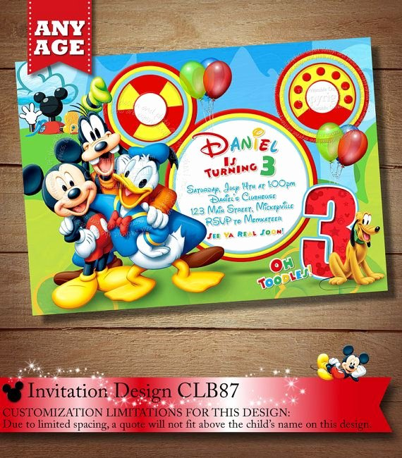 Mickey Mouse Clubhouse Invitation New Same Day Svc Mickey Mouse Clubhouse Invitation Mickey