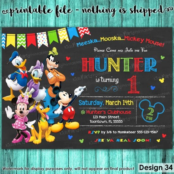 Mickey Mouse Clubhouse Invitation Template Awesome Mickey Mouse Clubhouse Invitations Mickey Mouse Clubhouse