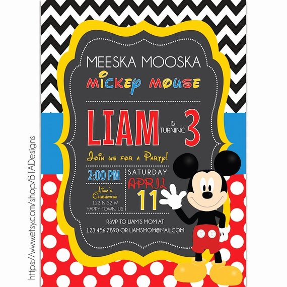 Mickey Mouse Clubhouse Invitation Template Beautiful Customized Digital Mickey Mouse Clubhouse Birthday by