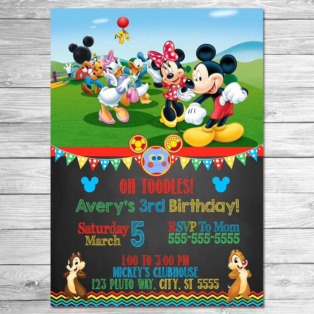 Mickey Mouse Clubhouse Invitation Template Best Of Mickey Mouse Clubhouse Invitation Chalkboard Mickey Mouse