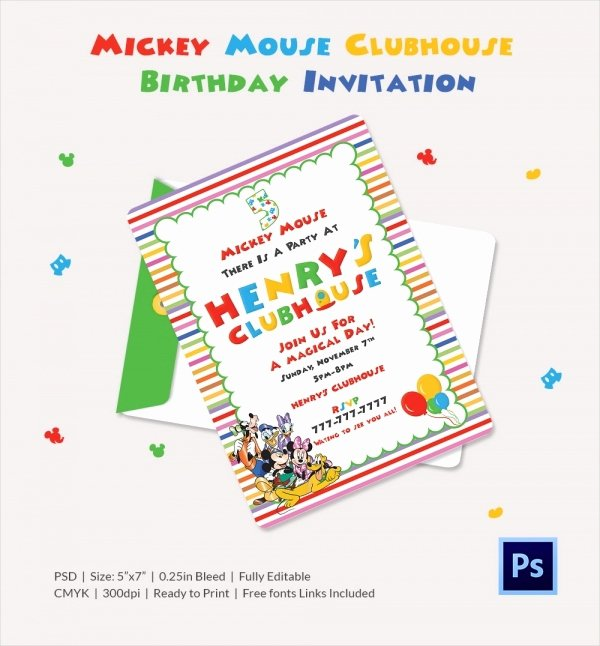 Mickey Mouse Clubhouse Invitation Template Best Of Mickey Mouse Invitation Template – 23 Free Psd Vector