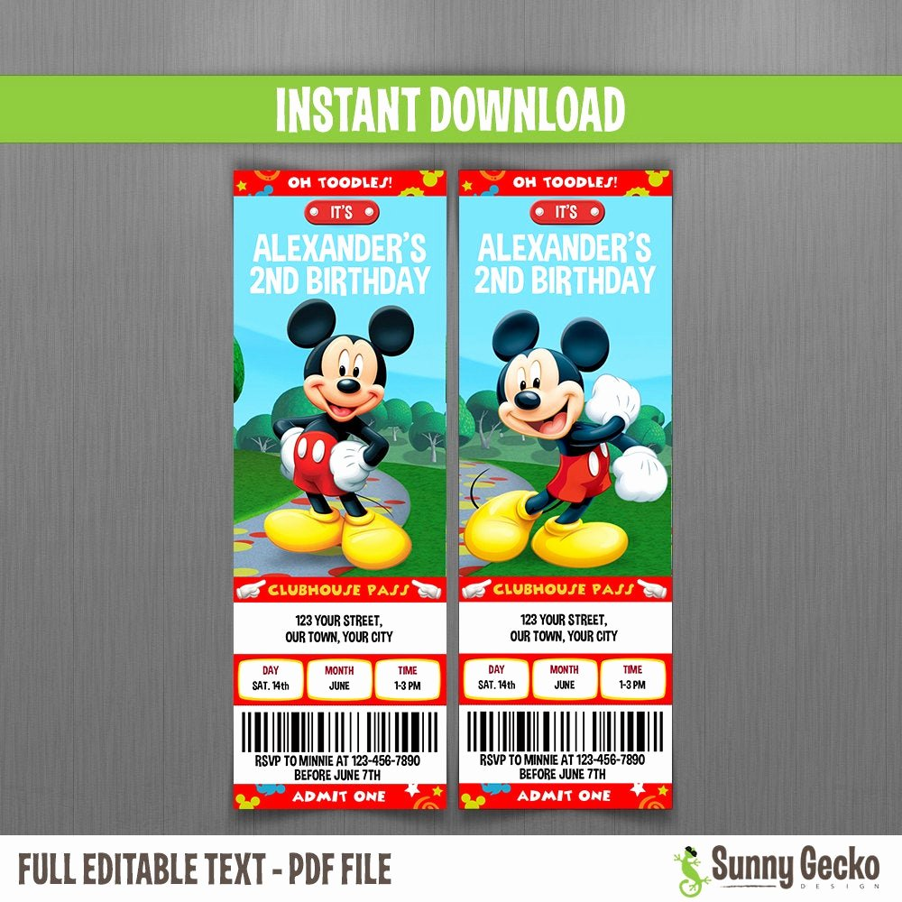 Mickey Mouse Clubhouse Invitation Template Elegant Disney Mickey Mouse Clubhouse Birthday Ticket Invitations