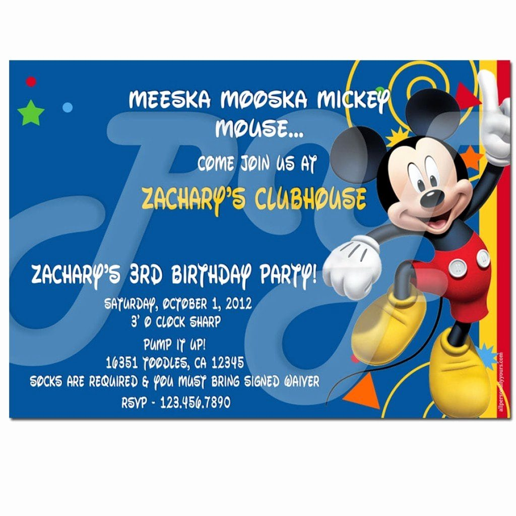 Mickey Mouse Clubhouse Invitation Template Elegant Free Mickey Mouse Clubhouse Birthday Invitation Templates