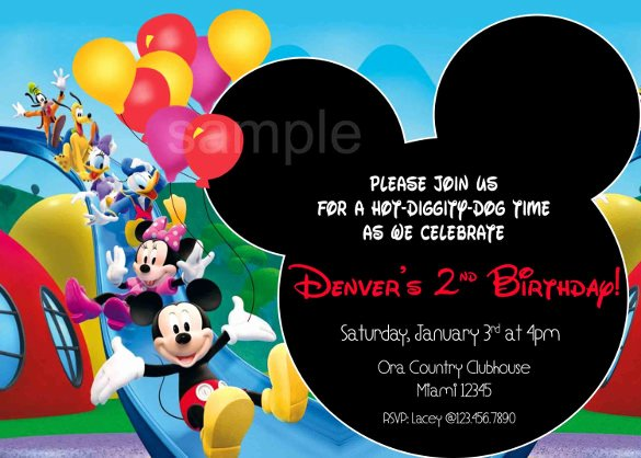 Mickey Mouse Clubhouse Invitation Template Inspirational 15 Mickey Mouse Birthday Invitation Templates – Psd
