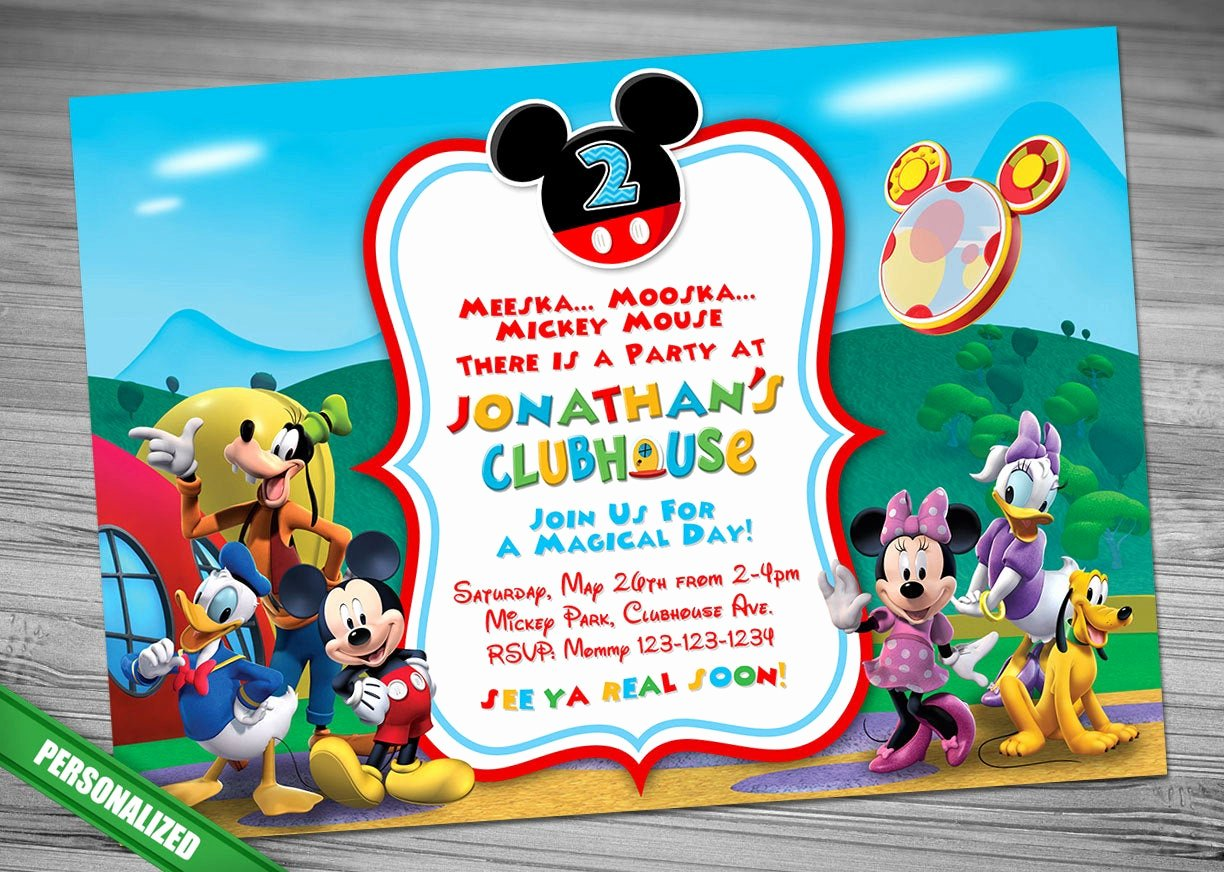 Mickey Mouse Clubhouse Invitation Template Inspirational Mickey Mouse Clubhouse Invitation Mickey Invitation Mickey