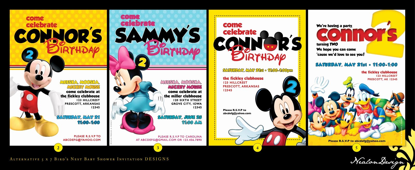 Mickey Mouse Clubhouse Invitation Template Inspirational Nealon Design Mickey Mouse Clubhouse Birthday Invitations
