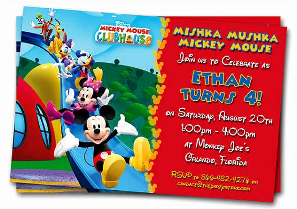 Mickey Mouse Clubhouse Invitation Template Lovely 83 Birthday Invitations Word Psd Ai Eps