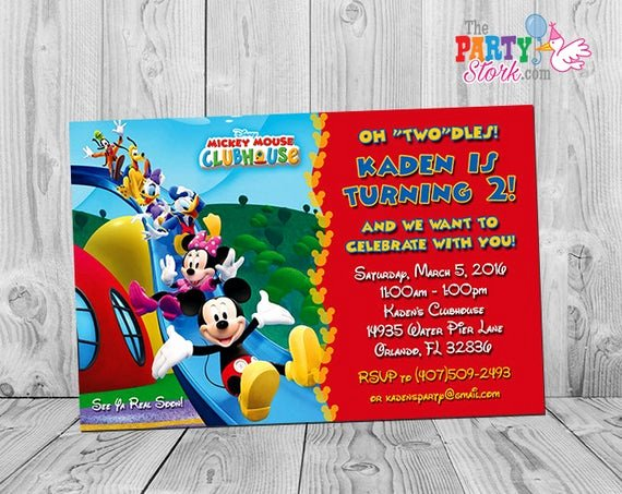 Mickey Mouse Clubhouse Invitation Template Lovely Mickey Mouse Clubhouse Invitations Printable Personalized