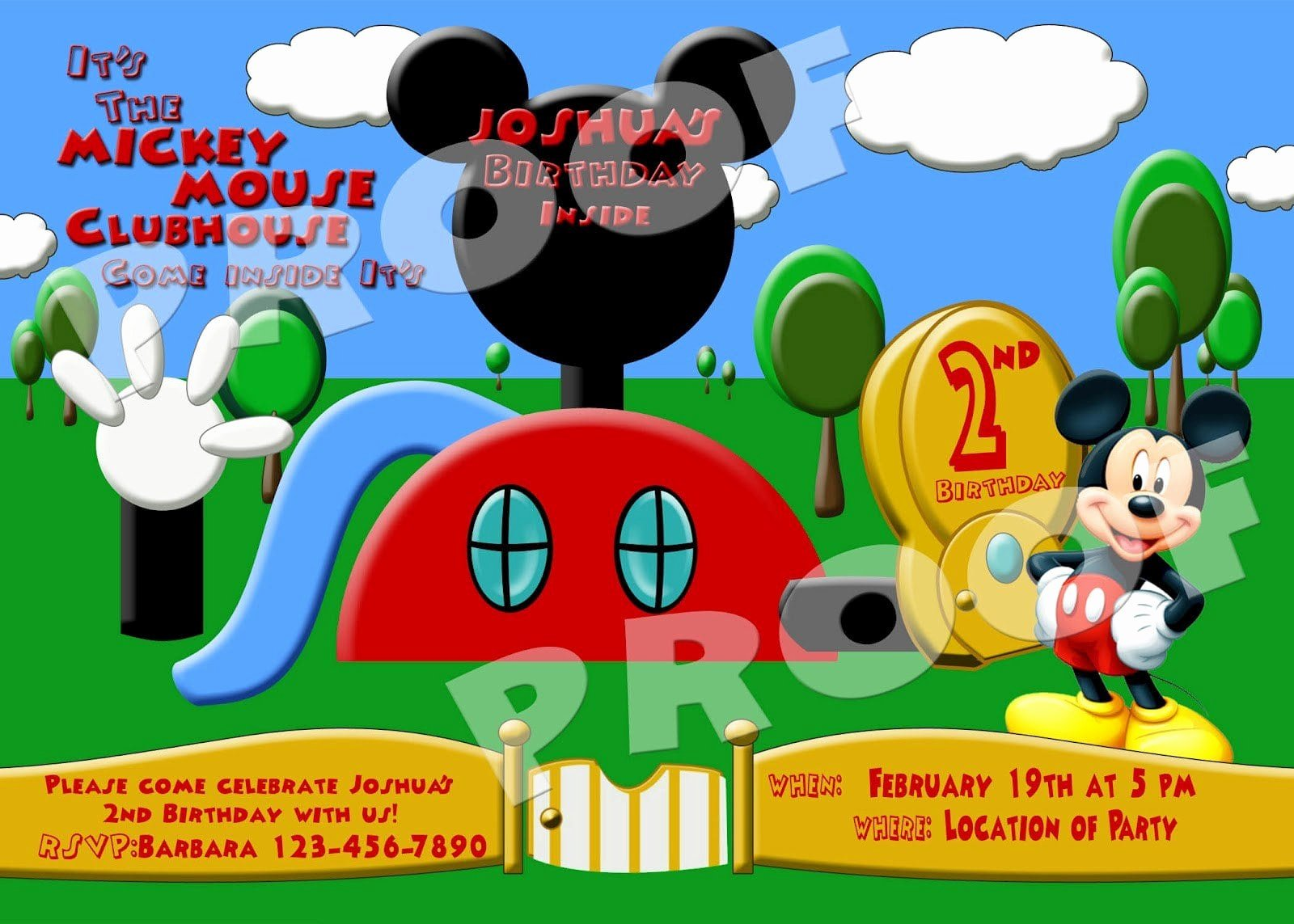 Mickey Mouse Clubhouse Invitation Template New Mickey Mouse Clubhouse Ticket Invitations Free Template