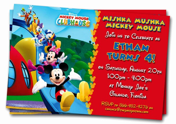 Mickey Mouse Clubhouse Invitation Template Unique Free Mickey Mouse Clubhouse 1st Birthday Invitations