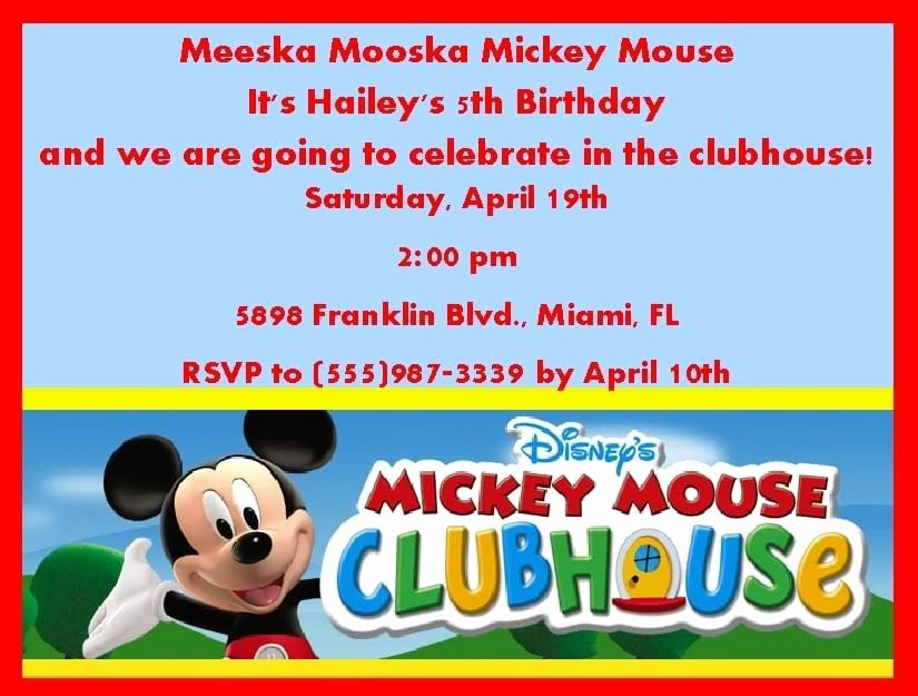 Mickey Mouse Clubhouse Invitation Template Unique Mickey Mouse Clubhouse Invitation