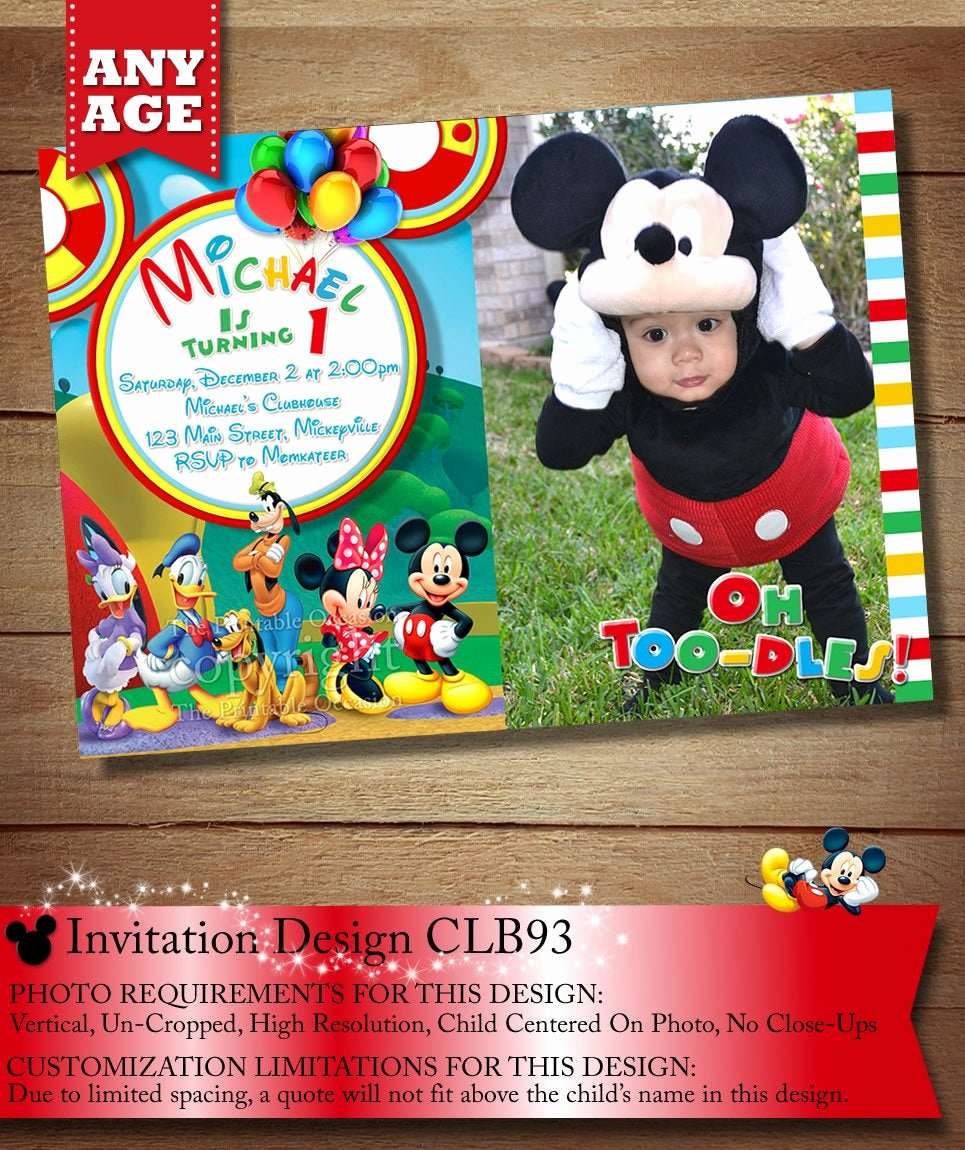 Mickey Mouse Clubhouse Invitation Unique You Choose Mickey Mouse Birthday Invitation Clubhouse Mickey