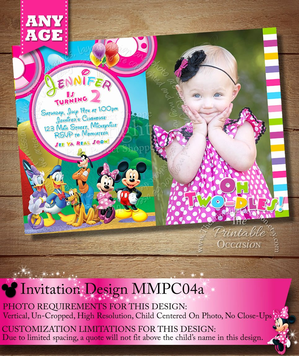 Mickey Mouse Clubhouse Invitations Beautiful Huge Selection Mickey Minnie Mouse Clubhouse Invitation