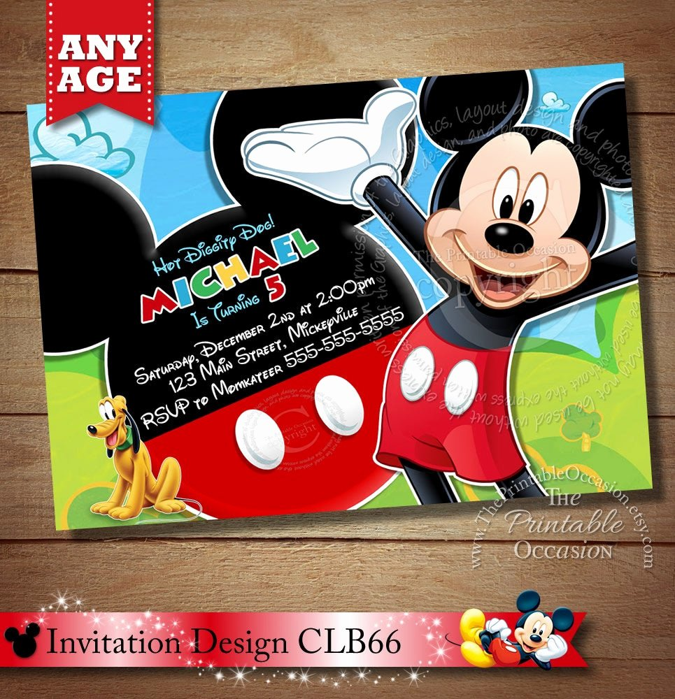 Mickey Mouse Clubhouse Invitations Elegant Mickey Mouse Clubhouse Invitation Mickey Invitation Mickey