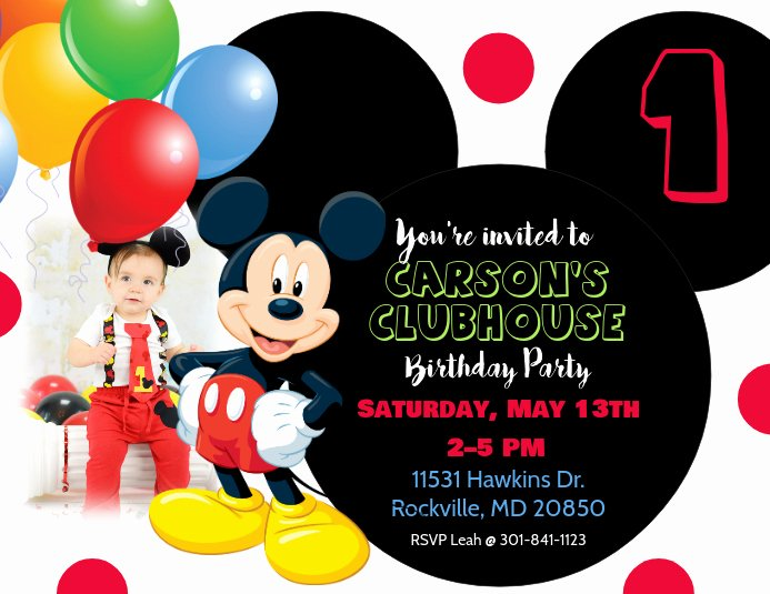 Mickey Mouse Clubhouse Invitations Fresh Mickey Mouse Birthday Invitation Template