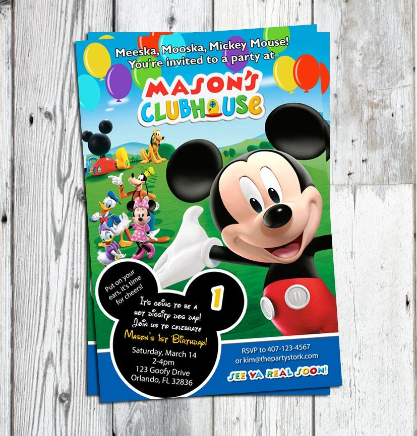 Mickey Mouse Clubhouse Invitations Luxury Mickey Mouse Clubhouse Invitations Printable Personalized