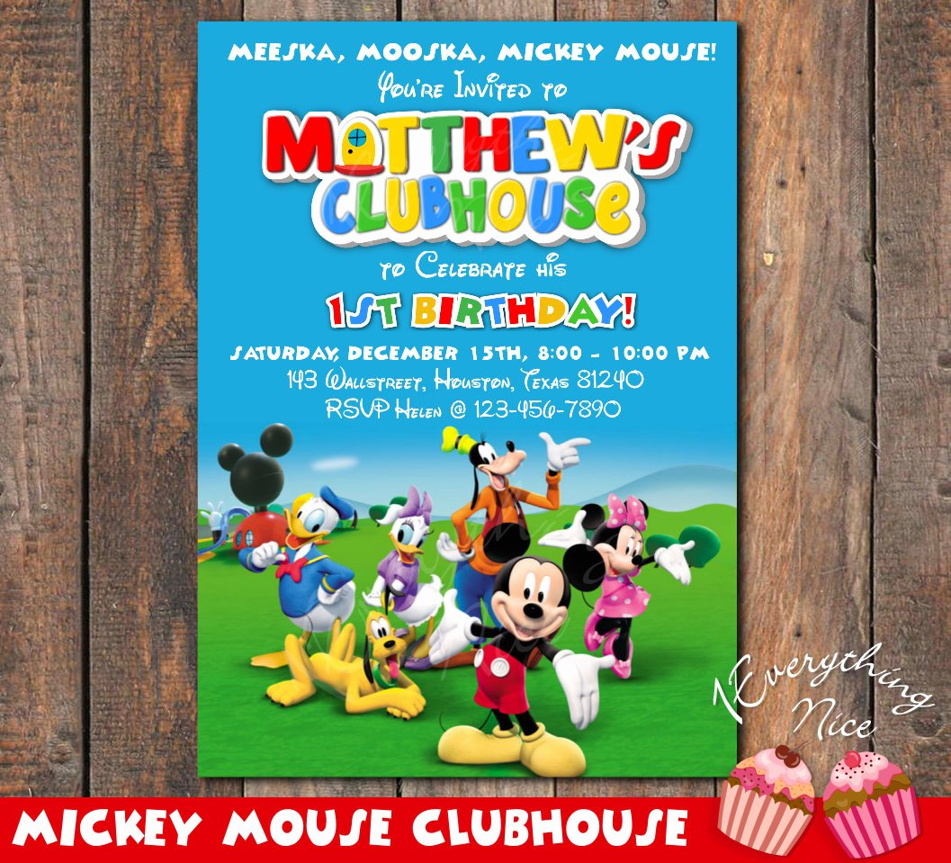 Mickey Mouse Clubhouse Invitations Unique Mickey Mouse Clubhouse Birthday Invitation Invite Card