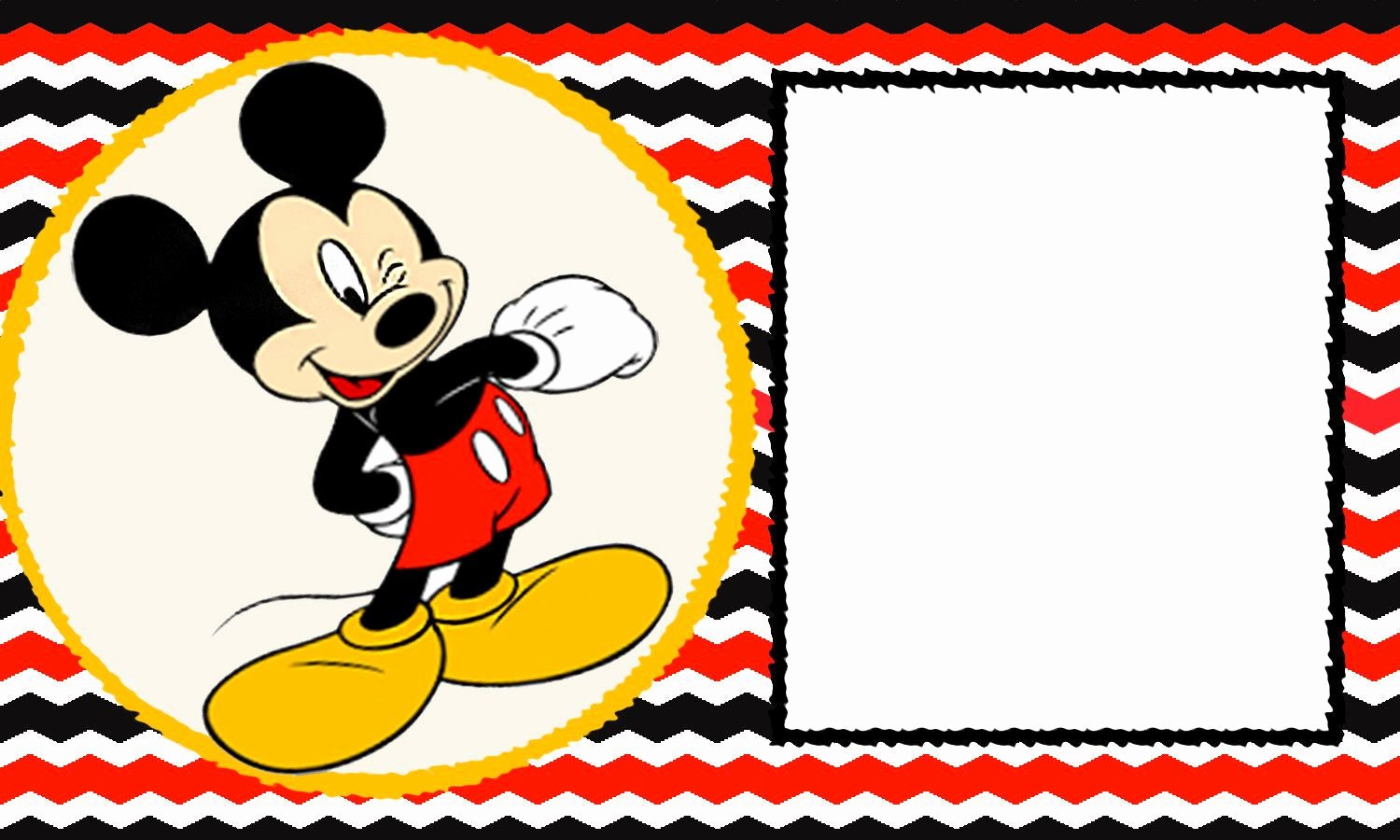 Mickey Mouse Invitation Card Awesome Free Blank Mickey Mouse 1st Invitation Chevron Template