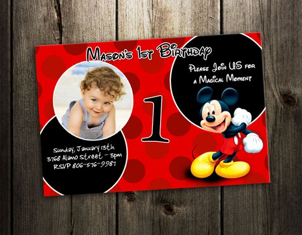 Mickey Mouse Invitation Card Awesome Mickey Mouse Birthday Invitation Party Card Custom Photo