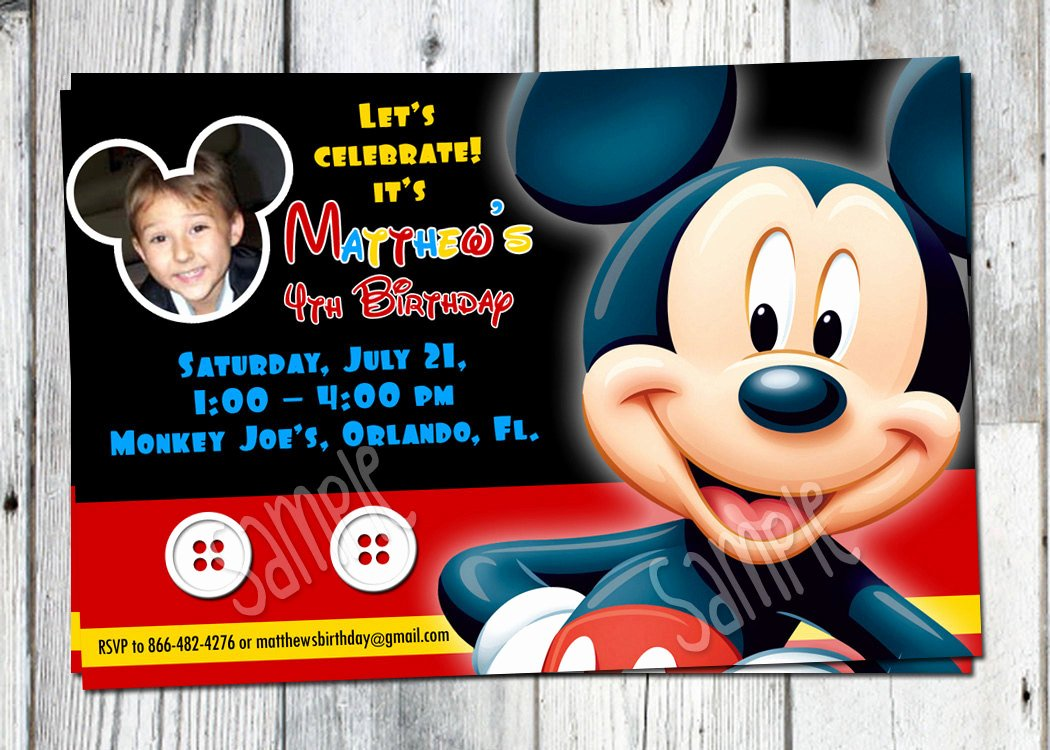Mickey Mouse Invitation Card Awesome Mickey Mouse Birthday Invitation Printable Boys Personalized