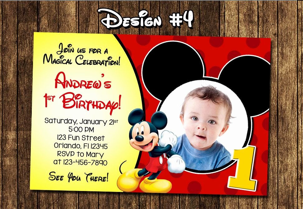 Mickey Mouse Invitation Card Beautiful Best Create Own Mickey Mouse 1st Birthday Invitations Free